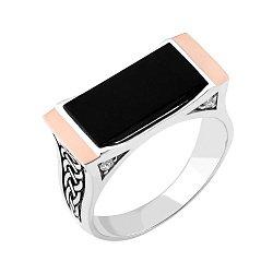 Серебряное кольцо с ониксом и золотыми накладками 000142947