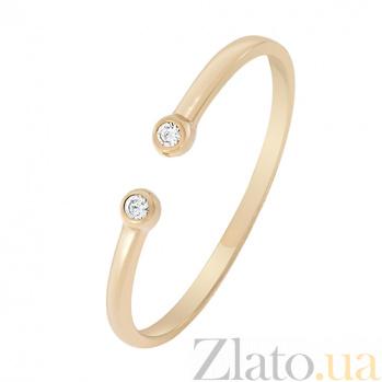 Золотое кольцо с фианитами на фалангу Отражение 000022952
