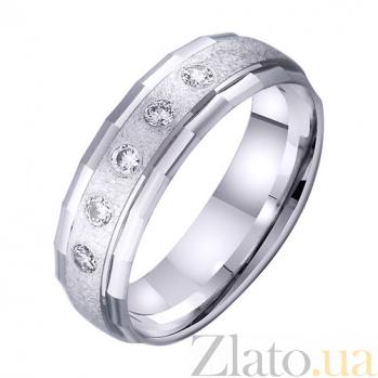 Обручальное кольцо из белого золота Силуэт с цирконием TRF--4221039