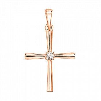 Хрестик у червоному золоті з діамантом 000104228