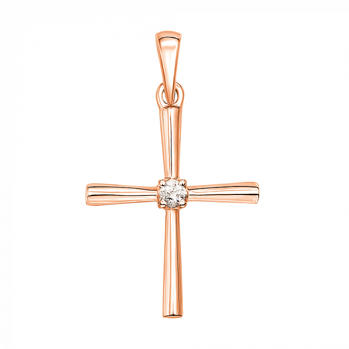 Крестик в красном золоте с бриллиантом 000104228 000104228