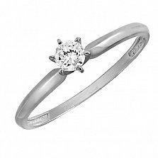 Золотое помолвочное кольцо Лавина в белом цвете с бриллиантом