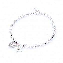Серебряный браслет Две звезды с подвесками и белыми фианитами 000088107