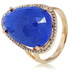 Золотое кольцо Женева с лазуритом и фианитами 000036720