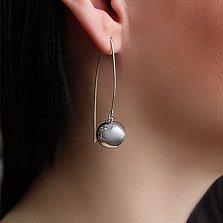 Серебряные серьги-подвески глянцевый Шар,14мм