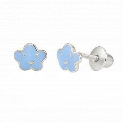 Детские серебряные серьги-пуссеты Облачко с голубой эмалью, 5х7,5мм
