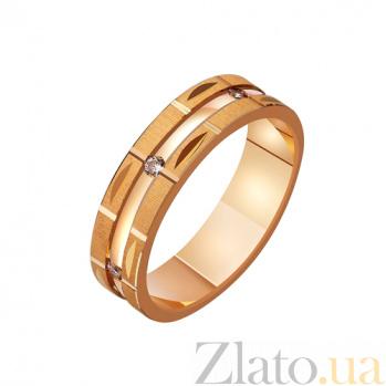 Золотое обручальное кольцо Любовный романс с фианитами TRF--422201