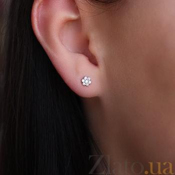 Золотые серьги-пуссеты с бриллиантами Свет любви 000024511