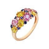 Золотое кольцо с бриллиантами и цветными сапфирами Весенний луг