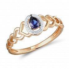 Золотое кольцо Лолита с сапфиром и бриллиантами