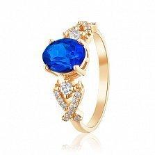 Золотое кольцо Марианна с корундом сапфира и фианитами