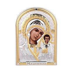 Икона Казанская Божия Матерь с серебром и позолотой в белой деревянной рамке 000140103
