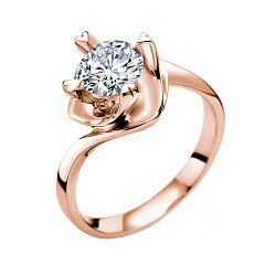 Помолвочное кольцо Любовный вихрь в красном золоте с бриллиантом 0,5ct в крапанах-сердцах