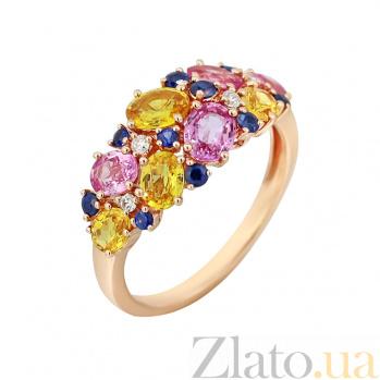 Золотое кольцо с бриллиантами и цветными сапфирами Весенний луг 000029295