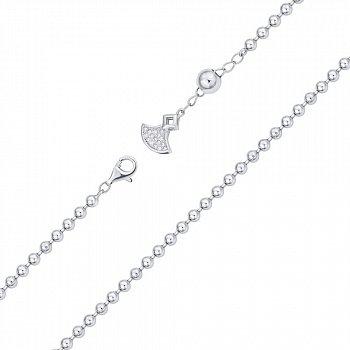 Срібний браслет в плетінні кульки з цирконієм 000140504