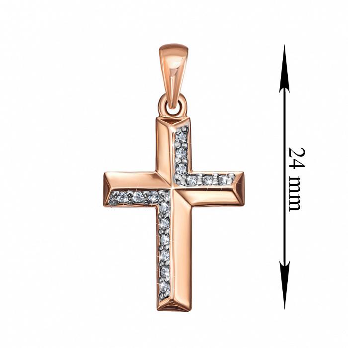Декоративный золотой крестик в комбинированном цвете с фианитами 000135266 000135266