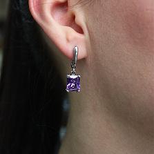 Серебряные серьги Монте-Карло с фиолетовыми фианитами