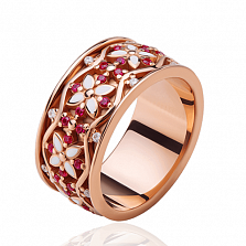 Обручальное кольцо Сказочная поляна с сапфирами, бриллиантами и эмалью