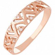 Золотое кольцо с фианитами Геометрический орнамент