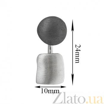 Серебряная серьга Джаз К2-2 кр ч кв