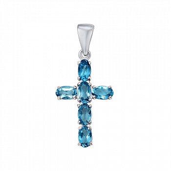 Крестик из серебра с шпинелью 000124764