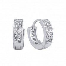 Серебряные серьги-конго Турель с двумя дорожками белых фианитов