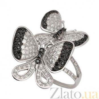 Золотое кольцо Беззаботность с белыми и черными фианитами VLT--ТТТ1228