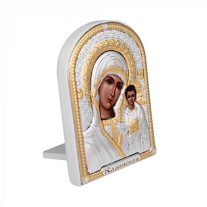 Икона Казанская Божия Матерь с серебром и позолотой в белой деревянной рамке 000140103 000140103