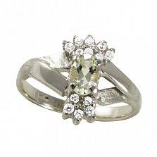 Кольцо из белого золота Марица с бериллом цвета шампань и фианитами