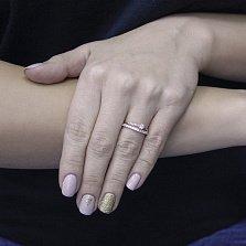 Золотое кольцо Ара с двойной шинкой, дорожкой, кристаллами Swarovski и фианитами