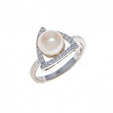 Кольцо из серебра с белым жемчугом Вера