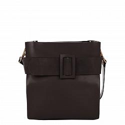 Деловая сумка из кожи и замши Genuine Leather 8821 темно-коричневого цвета с декоративной пряжкой