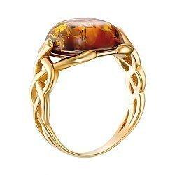 Серебряное позолоченное кольцо с янтарем 000137637