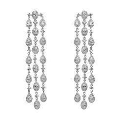 Серебряные серьги-подвески с белыми кристаллами циркония 000099695