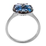 Кольцо в белом золоте Николетта с лондон топазом и бриллиантами