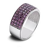 Серебряное кольцо с фиолетовыми фианитами Радуга