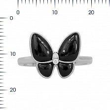 Кольцо из белого золота Батерфляй с бриллиантами и черным ониксом