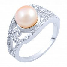 Серебряное кольцо Мирна с жемчугом и цирконием