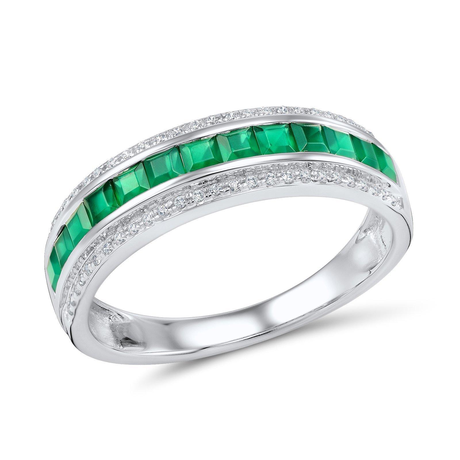 Кольцо из белого золота Полина с бриллиантами и изумрудами