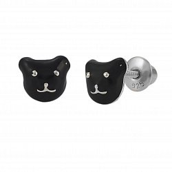 Детские серебряные серьги-пуссеты Котик с черной эмалью, 6х6мм