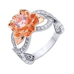 Золотое кольцо в комбинированном цвете с наноморганитом в розе и фианитами 000095863