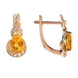 Золотые серьги с бриллиантами и цитрином Sunny Сitrine