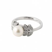 Серебряное кольцо Молочное цветение с белой жемчужиной и Swarovski Zirconia