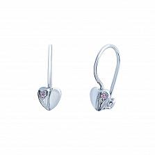 Серебряные серьги с цирконием Нежная любовь