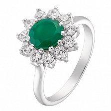 Серебряное кольцо Гиана с агатом и фианитами