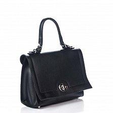 Кожаная деловая сумка Genuine Leather 8645 черного цвета на молнии, с клапаном и повортным замком