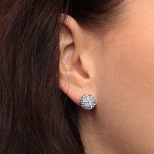 Серебряные пуссеты-шары Блеск с нежно-сиреневыми кристаллами Swarovski
