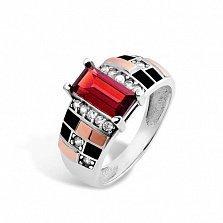 Серебряное кольцо Ираида с золотыми накладками, красным и белыми фианитами, черной эмалью