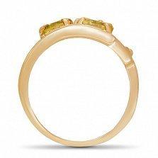 Золотое кольцо Третье измерение с цитрином и фианитами