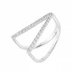 Двойное кольцо Изогнутая геометрия из серебра с дорожками белых фианитов